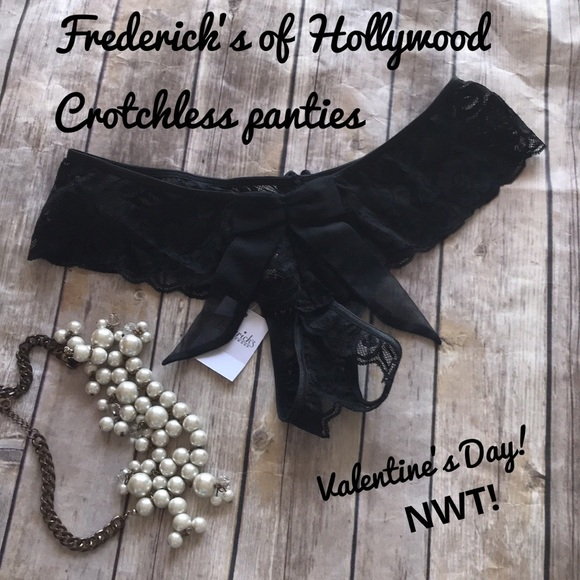 New~ Fredrick/'s of Hollywood crotchless Panties Small Medium Red Lace Black Bow